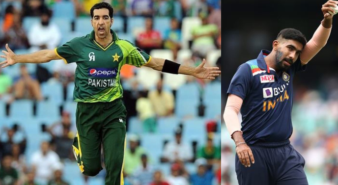 ICC T20I team of the decade: Here is the comparison between Umar Gul and Jasprit Bumrah. Image: Zainab Shafiq