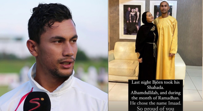 South Africa's Bjorn Fortuin accepts Islam with wife